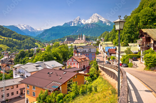 Aluminium Prints Salmon Town of Berchtesgaden and Alpine landscape view