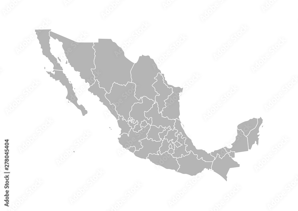 Fototapety, obrazy: Vector isolated illustration of simplified administrative map of Mexico (United Mexican States). Borders of the provinces (regions). Grey silhouettes. White outline