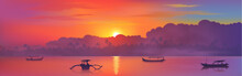 Colorful Asian Sunset With Clouds And Palm Trees Silhouettes, Sun Reflection And Fisherman Boats In Ocean Water, Vector Bali Island Illustration