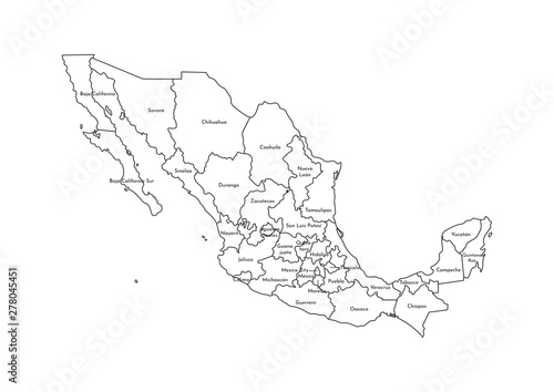 Fotografie, Tablou  Vector isolated illustration of simplified administrative map of Mexico (United Mexican States)