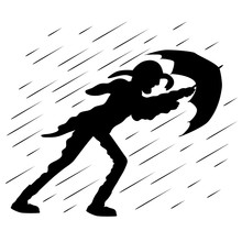 A Man With An Umbrella Goes Against The Wind In Rainy Weather.
