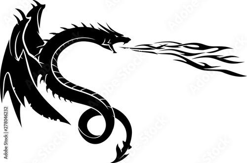 Dragon Breathe Fire Side View Canvas