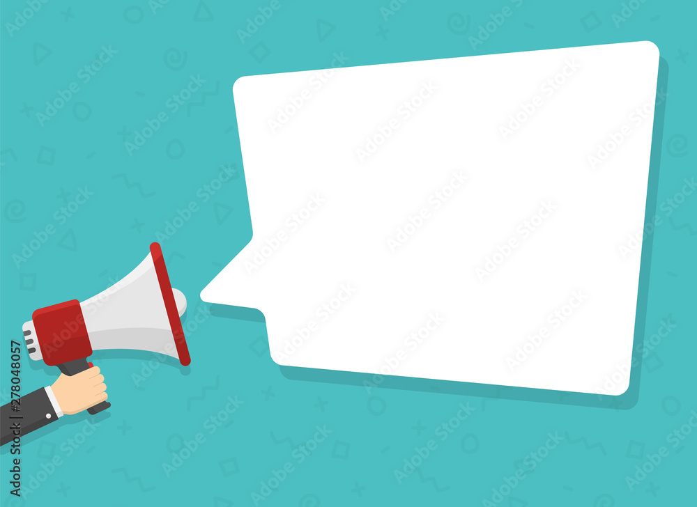 Fototapeta realistic red megaphone in hand with place for text in white dialog speech bubble vector illustration. loudspeaker for advertising, promotions, sales, messages. flat illustration on green background