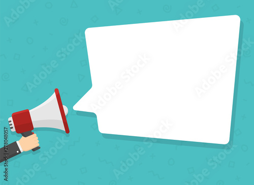 Photo  realistic red megaphone in hand with place for text in white dialog speech bubble vector illustration