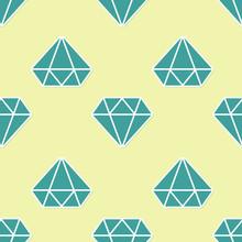 Green Diamond Sign Isolated Seamless Pattern On Yellow Background. Jewelry Symbol. Gem Stone. Flat Design. Vector Illustration