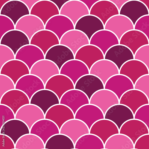Fotografie, Tablou  Vector Pink Fish Scales Seamless Repeat Background Pattern