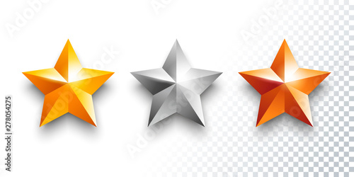 Fototapeta Vector set of gold, silver and bronze medals with stars obraz na płótnie