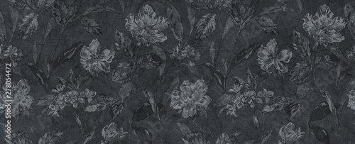 abstract floral black background - 278054472