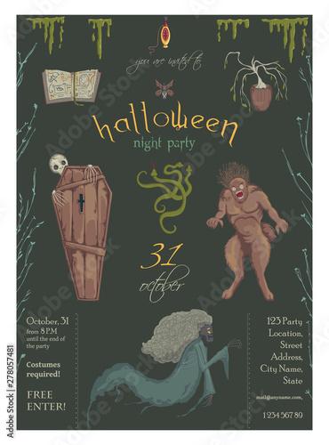 Photo  Halloween night party invitation