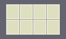 Eight Uncut Postage Stamps On A Dark Background. Vector Illustration.