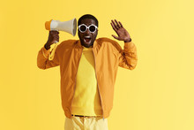 Happy Black Man With Megaphone Having Fun, Studio Portrait
