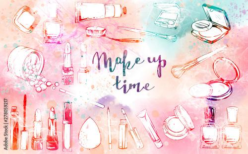 Poster Doodle Make up stuff set, brushes, lepsticks, nail laquers, powder, mascara, eye shadow