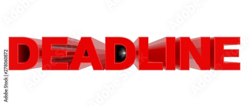 Photo DEADLINE word on white background 3d rendering