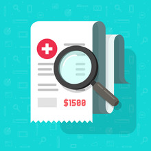 Medical Receipt With Magnifying Glass Vector, Flat Cartoon Tax Bill Document Analysis, Pharmacy Expenses Cost Research, Financial Check, Budget Accounting Report, Paper Invoice Analyze Image