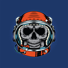 Isolated Illustration Of The Astronaut Skull In The Helmet. Vector Color Illustration.