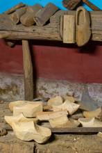 Making Of Traditional Dutch Clogs, Old  Footwear For Farmers  Made From Wood.
