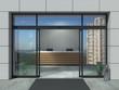 Leinwanddruck Bild - Automatic sliding open doors office