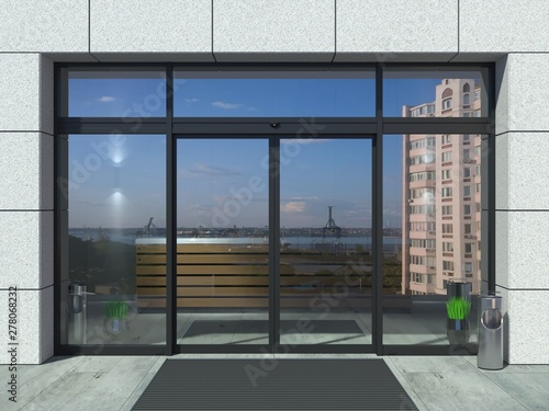 Photo Automatic black sliding doors office