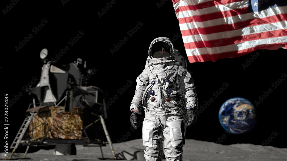 Fototapety, obrazy: 3D rendering. Astronaut saluting the American flag. CG Animation. Elements of this image furnished by NASA.