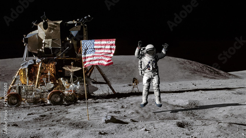 Fotobehang Nasa 3D rendering. Astronaut jumping on the moon and saluting the American flag. CG Animation. Elements of this image furnished by NASA.