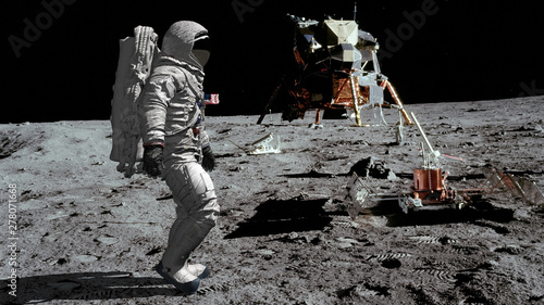 Fotobehang Nasa 3D rendering. Astronaut walking on the moon. CG Animation. Elements of this image furnished by NASA.