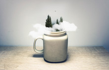 Forest And Clouds Inside Coffe...