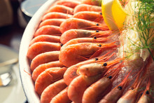 Shrimps Line Up On Ice With Lemon And Pastry