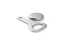 Mock Up Of Bottle Opener And Cap On Isolated White Background, 3d Illustration