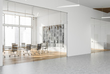 White Meeting Room With Bookcase