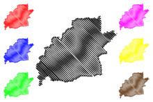 Sibiu County (Administrative Divisions Of Romania, Centru Development Region) Map Vector Illustration, Scribble Sketch Sibiu Map