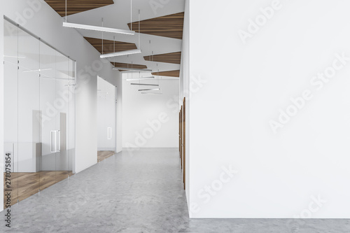 obraz lub plakat Empty white office hall with mock up wall
