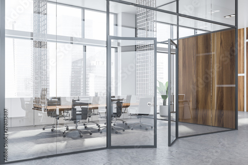 Deurstickers Europa Glass wall meeting room interior