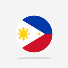 Philippine Flag Icon Sign Template Color Editable. Philippine National Symbol Vector Illustration For Graphic And Web Design.