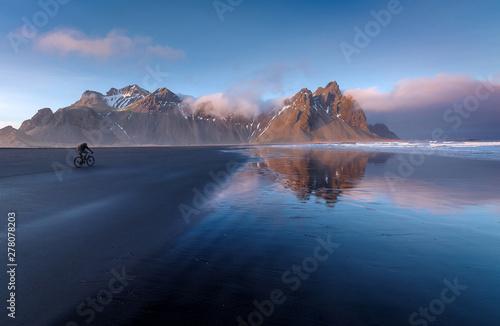 Garden Poster Vestrahorn Stokksness mountain and black sand beach panorama