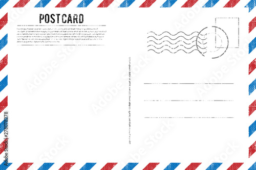 Pinturas sobre lienzo  Blank vintage post card template with stamp.vector illustration