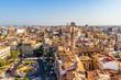 Blick über das historische Valencia, Plaza de la Reina und Iglesia de Santa Catalina, Valencia, Spanien