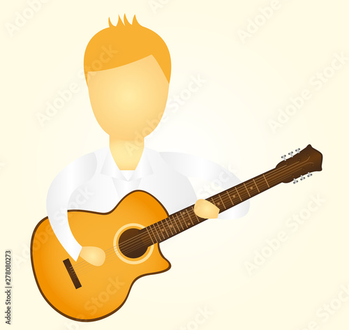 man playing guitar over yellow background vector Fototapet