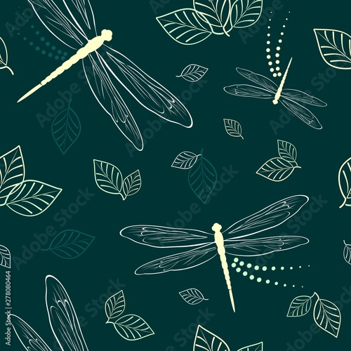 Foto op Plexiglas Draw Dragonflies and Leaves Vector Textile Seamless Pattern