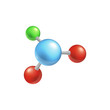 Molecule structure with four colorful balls