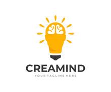 Creative Idea Logo Design. Human Head As Light Bulb Vector Design. Smart Human Head With Brain Logotype