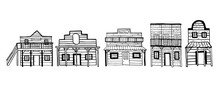 America Wild West Town Houses. Outline Hand Drawn Sketch Doodle Vector Illustration