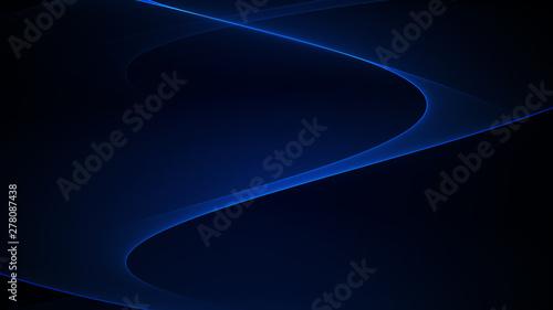 Fotografiet  Blue elegant line on a dark background. Abstract illustration.