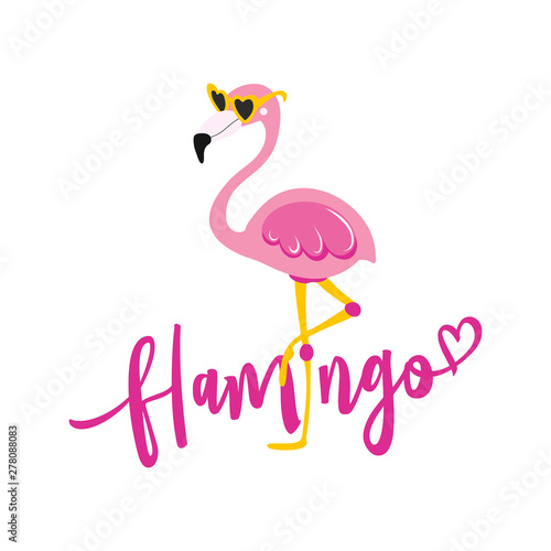 flamingo - Motivational quotes. Hand painted brush lettering with flamingo. Good for t-shirt, posters, textiles, gifts, travel sets.