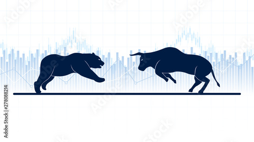 Abstract financial chart with bulls and bear in stock market on white color background