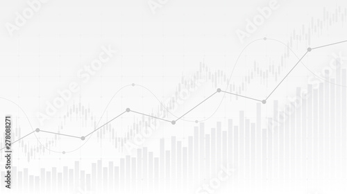 Photo abstract financial chart with uptrend line graph and candlestick on black and wh