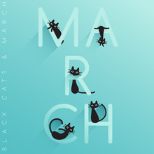 Name Of Month With Little Black Cats Isolated On Pastel Background : Vector Illustration