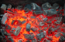 Red Hot Coals In The Grill Close Up