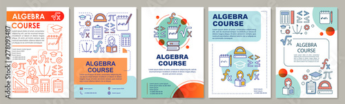Algebra course, math lessons brochure template layout Wallpaper Mural