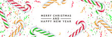 Merry Christmas, Happy New Year Banner, Poster Background. Vector 3d Realistic Illustration Of Multicolor Striped Candy