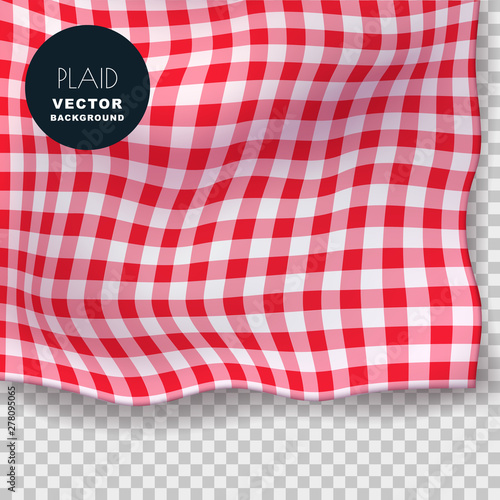 Obraz Tablecloth or plaid realistic vector illustration. Red gingham textile blanket on isolated transparent background. - fototapety do salonu